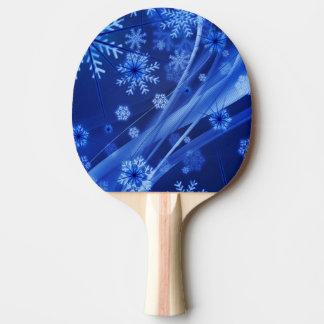Blue Winter Snowflakes Christmas Ping Pong Paddle