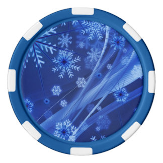 Blue Winter Snowflakes Christmas Poker Chips