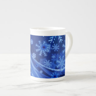 Blue Winter Snowflakes Christmas Tea Cup