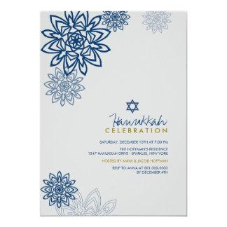 Blue Winter Snowflakes Hanukkah Celebration Party 13 Cm X 18 Cm Invitation Card