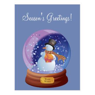 Blue Winter Snowglobe Custom Holiday Postcard