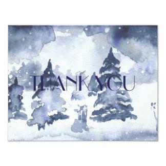 BLUE WINTER THANK YOU Card Watercolor Snow 11 Cm X 14 Cm Invitation Card