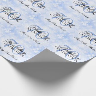 Blue Winter Wonderland 70th Birthday Party Wrapping Paper