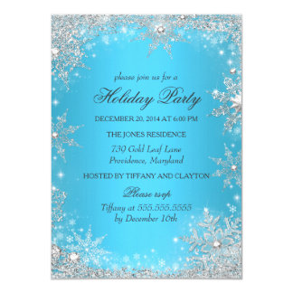 Blue Winter Wonderland Christmas Holiday Party Card