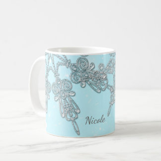 Blue Winter Wonderland Elegant Silver Snowflakes Coffee Mug