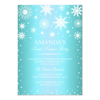 Blue Winter Wonderland Sweet 16 Invitation