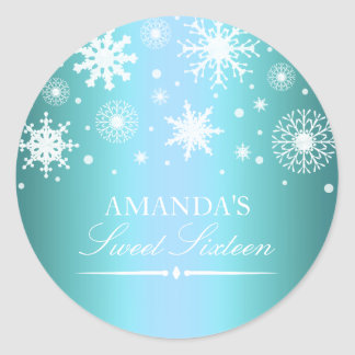Blue Winter Wonderland Sweet 16 Sticker