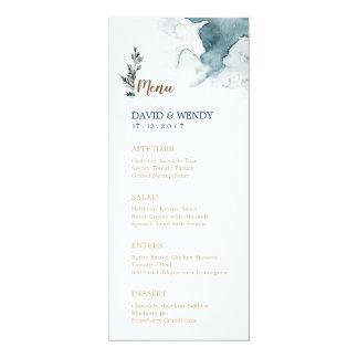 Blue Winter Wonderland Wedding Menu Card