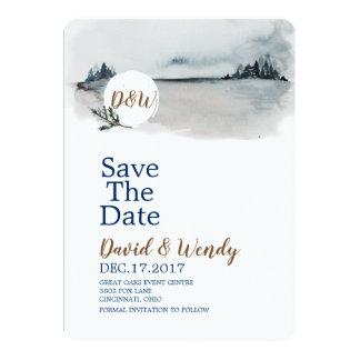 Blue Winter Wonderland Wedding save the date card