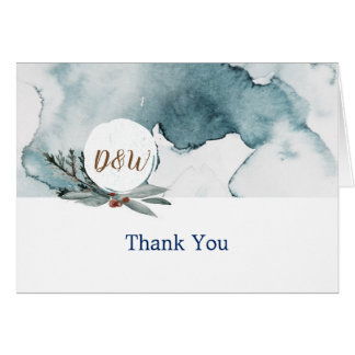 Blue Winter Wonderland wedding thank you card