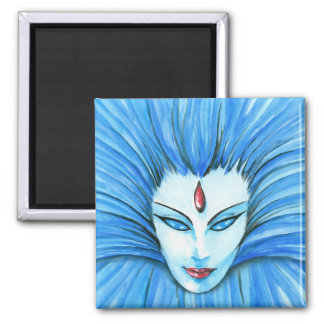 Blue Witch Square Magnet