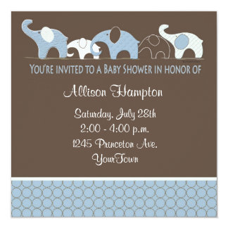 Blue with Brown Elephant Baby Shower Invitations