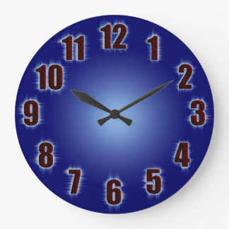 Blue with fiery red numbers clocks