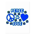 Blue with Flowers Peace and Love Design Post Cards