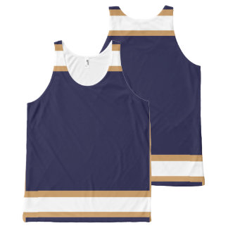 Blue with Gold and White Trim All-Over Print Singlet