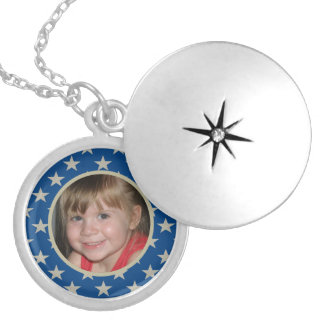 Blue With Gold Stars Framed:  Picture Locket