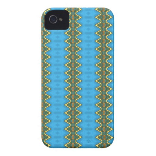 BLue with gold waves Blackberry Case