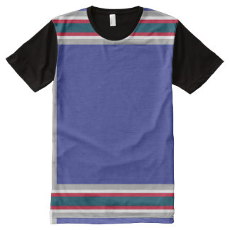 Blue with Gray Red and White Trim All-Over Print T-Shirt