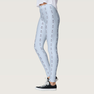 Blue With Navy Nautical Anchors Leggings