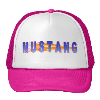 Blue With Pink Hue Mustang And Flames Cap