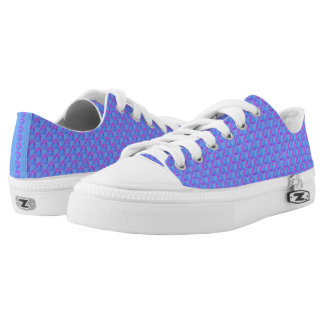 Blue with Purple Hearts Low Top Shoes