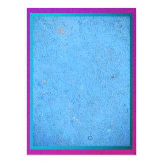 Blue with Purple Trim 17 Cm X 22 Cm Invitation Card