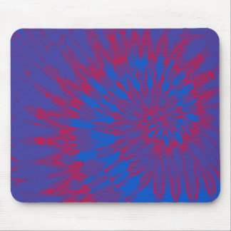 Blue with Red Spiral Tie Dye Mouse Pad
