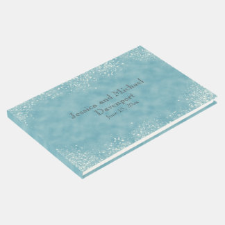 Blue with Stardust Wedding Guestbook