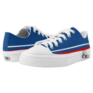 Blue with White and Red Trim Lo-Top Printed Shoes