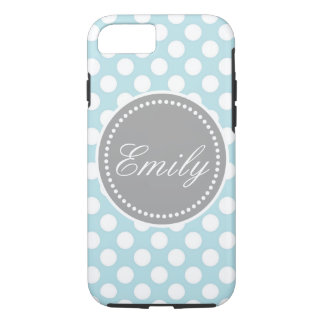 Blue with white dots iPhone 7 case personalize