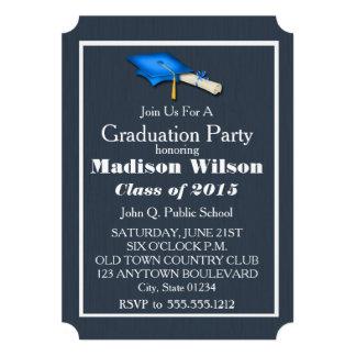 Blue with White Graduation Invitations