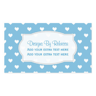 Blue With White Heart Business Cards