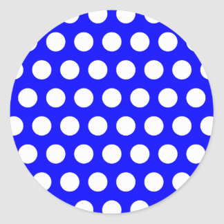 Blue with White Polka Dots Classic Round Sticker