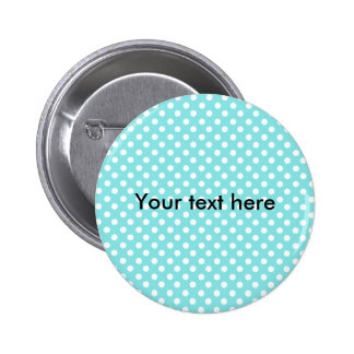 Blue with white polkadots 6 cm round badge