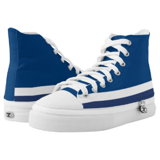 Blue with White Trim Hi-Top Printed Shoes