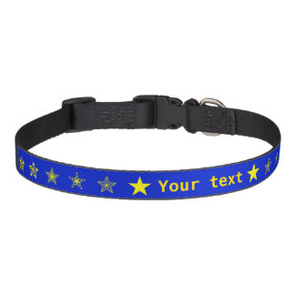 Blue with yellow stars personalized pet collar