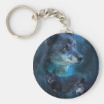 Blue Wolf Art Keychain