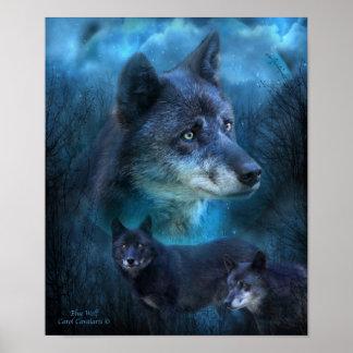 Blue Wolf Art Poster/Print Poster