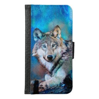 Blue Wolf Art Samsung Galaxy S6 Wallet Case
