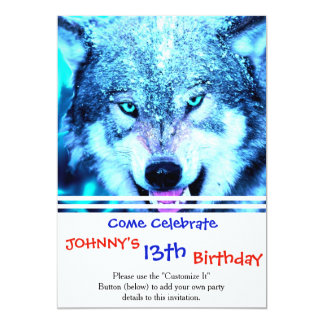 Blue wolf face 13 cm x 18 cm invitation card