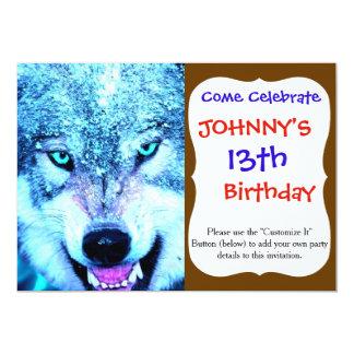 Blue wolf face 13 cm x 18 cm invitation card
