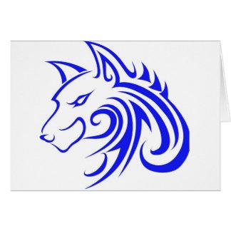 Blue Wolf Head Card