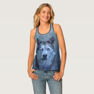 Blue wolf husky singlet