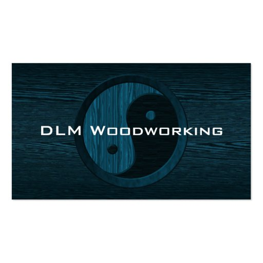 Blue Wood Yin Yang Contractor Business Card