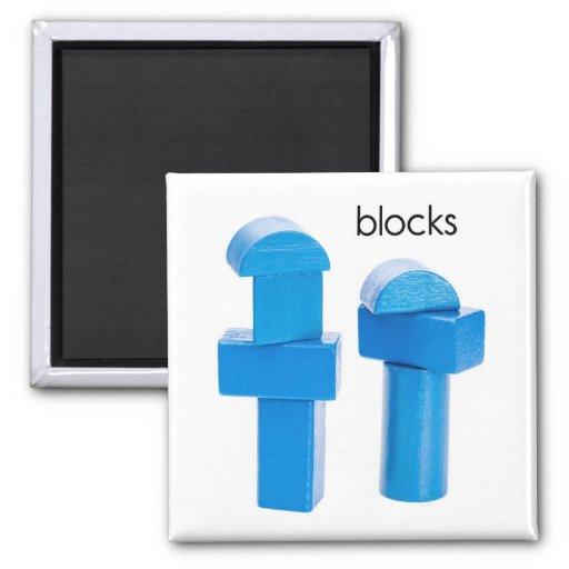 Blue Wooden Blocks Refrigerator Magnet
