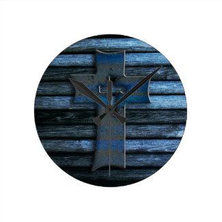 Blue Wooden Cross Wall Clocks