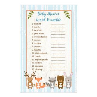 Blue Woodland Animal Baby Word Scramble Game Flyer