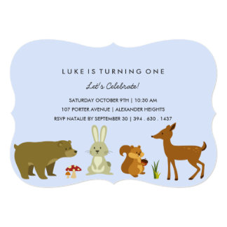 "Blue Woodland Friends Birthday Invitation 5"" X 7"" Invitation Card"
