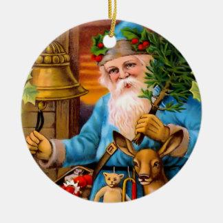 Blue Woodland Santa Vintage Christmas Ornament