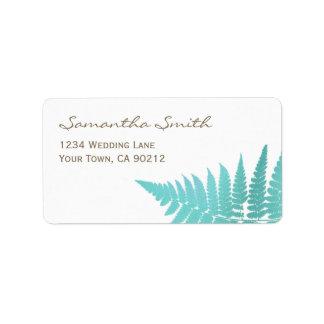 Blue Woodland Wedding Fern Address Label